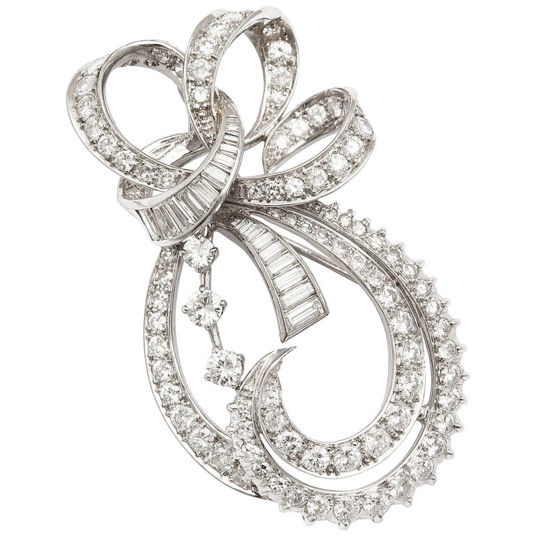 Radiant Bow and Ribbon Diamond Pendant or Brooch, circa 1950 For Sale
