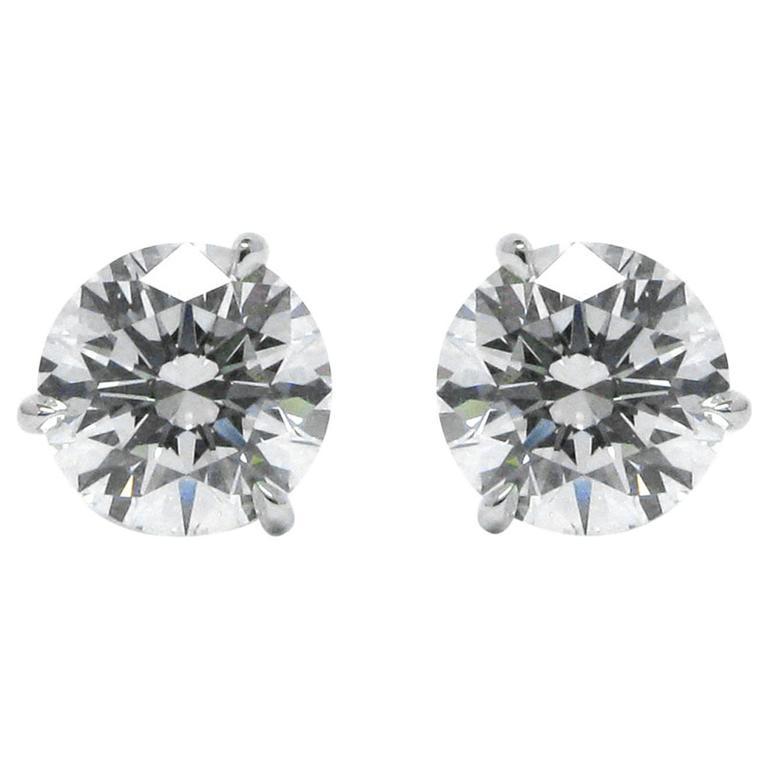 3.44 Carats GIA Certified D VS Diamond Stud Earrings