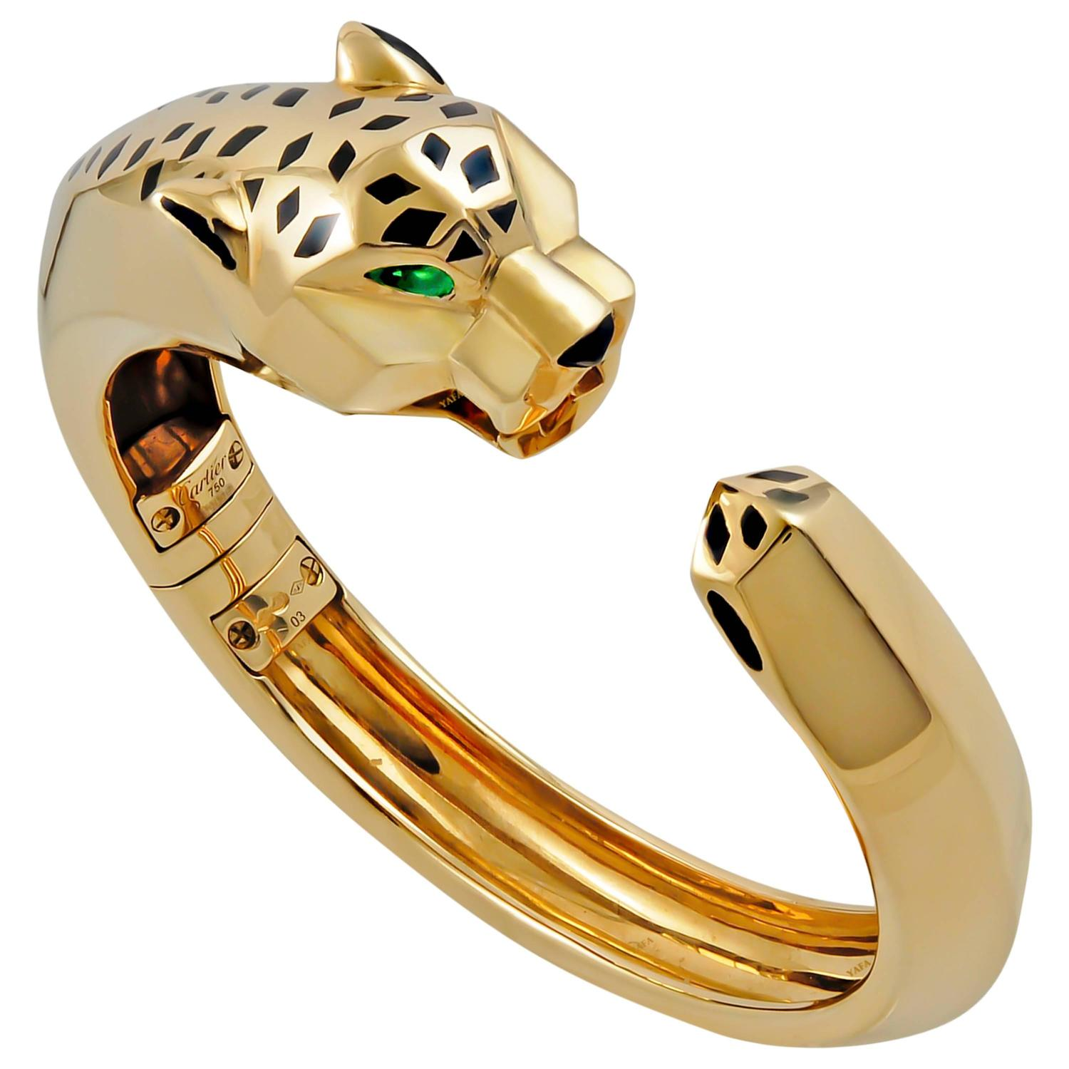 bracelet yellow panther i carrera y double bangle diamond gold
