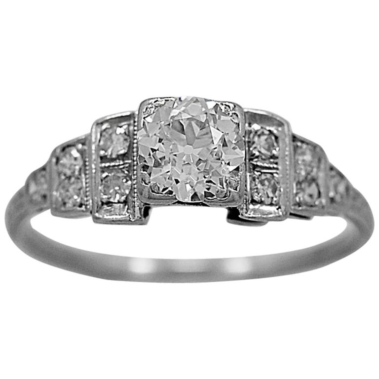 Antique Engagement Ring .50  dd ct  Diamond Platinum Art Deco