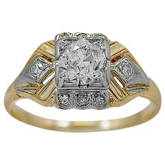 Art Deco .52 Carat Diamond Gold Engagement Ring