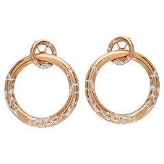 Estate Diamond Gold Hoop Earrings