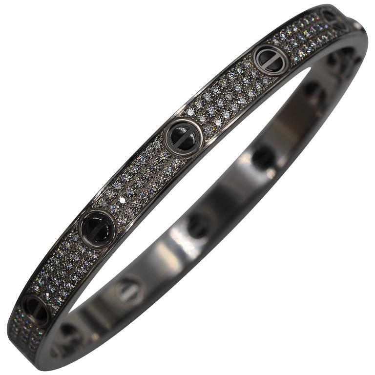 31f54afcdae99 Cartier Pave Diamond Black Ceramic Gold Love Bracelet
