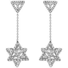Merkaba Light Platinum Drop Earrings with Diamonds