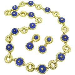 Trio Yellow Gold and Lapis Lazuli Necklace and Matching Earrings
