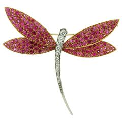 Van Cleef & Arpels Diamond Pink Sapphire Gold Dragonfly Large Brooch