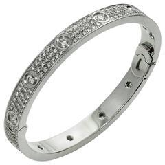 Cartier Love Pave Diamond Gold Bangle Bracelet