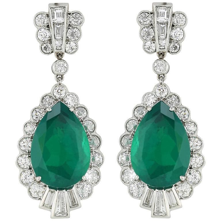pear shape emerald diamond earrings for sale at 1stdibs