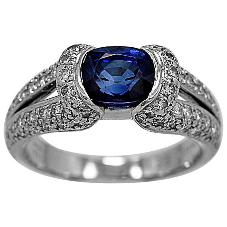Eichhorn 1.75 Carat Sapphire Diamond Platinum Engagement Ring