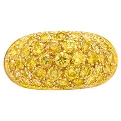 Boivin Yellow Diamond Pave Gold Bombe Dome Ring