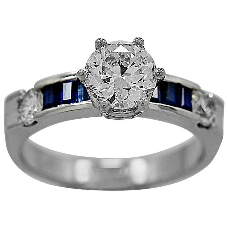 1.07 Carat Diamond Sapphire Platinum Engagement Ring