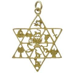 Large Twelve Tribes of Israel Gold Star of David