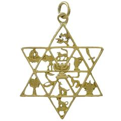 Large Twelve Tribes of Israel Gold Star of David