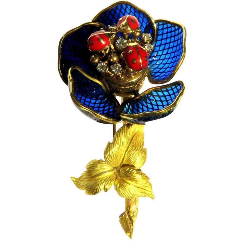 French Ladybug Plique a Jour Enamel En Tremblant Diamond Gold Pin