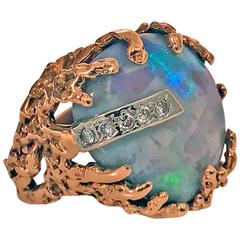 1960's abstract Opal and Diamond vintage Ring