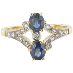 New French Sapphire and Diamond ring