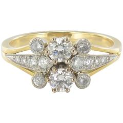 New French Charming Diamond Gold Ring