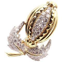 Tiffany & Co. Schlumberger Diamond Gold Platinum Acorn Pin Brooch