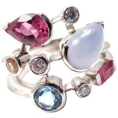 Cartier Meli Melo Chalcedony Tourmaline Garnet Diamond Platinum Ring