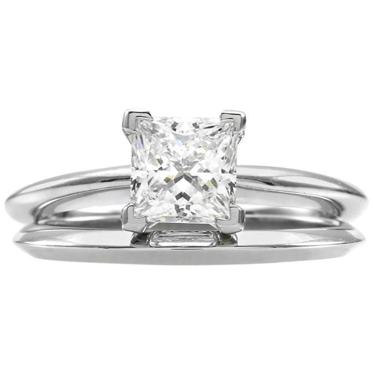 Tiffany & Co. Princess Cut Diamond and Platinum Solitaire Wedding Set  1