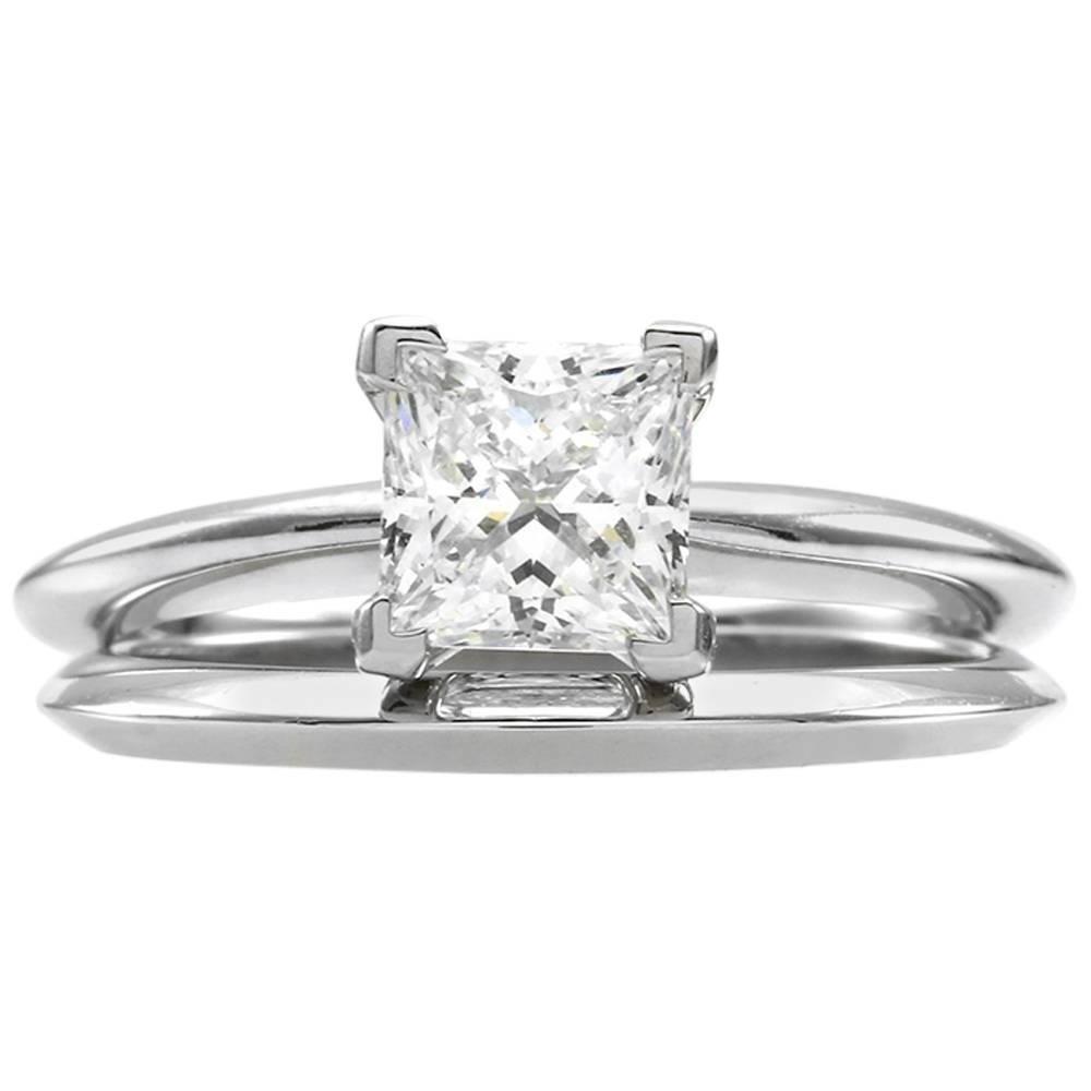 Princess Cut Diamond And Platinum Solitaire Wedding Set At 1stdibs