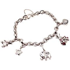 Chopard Happy Diamond Elephant Ruby Ladybug Bear Heart White Gold Charm Bracelet