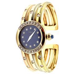 Piaget Tricolor Gold Diamond Lapis Dial Bracelet Wristwatch