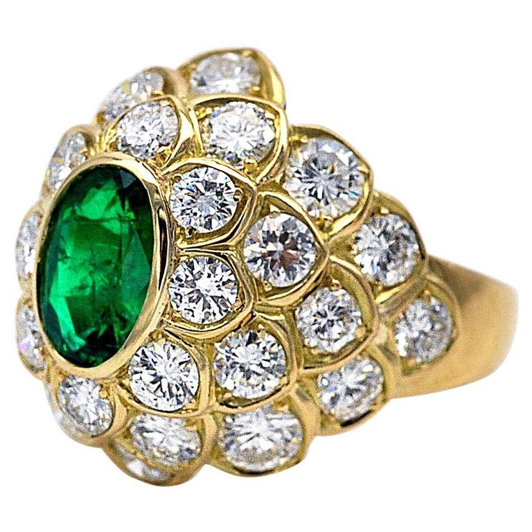 Emerald Diamond Yellow Gold Dome Ring For Sale 1