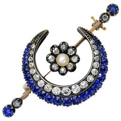 Victorian Sapphire Diamond Gold Crescent Brooch
