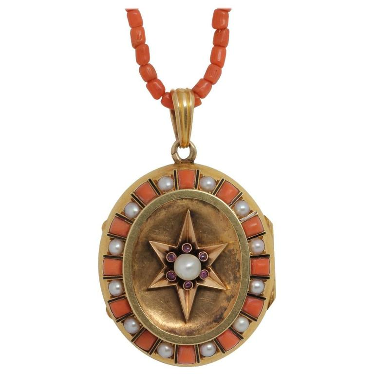 Unique Victorian Coral Pearl Gold Locket with Star Design