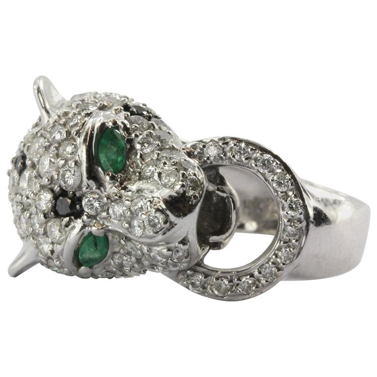 Emerald Diamond Gold Figural Leopard Ring