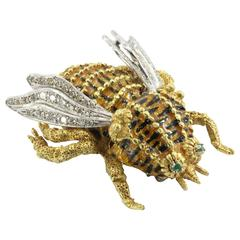 Impressive Handmade Enamel Emerald Diamond Gold Bee Pin