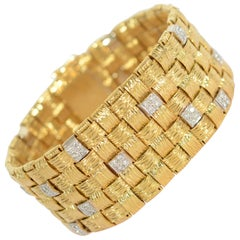 Day/ Night Gold and Diamond Woven Bracelet Black, Starr and Frost
