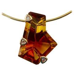 Fantasy Cut Madeira Citrine Trillion Diamond Gold Pendant