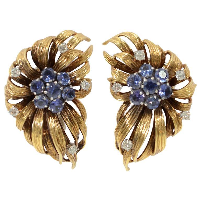 Sapphire Diamond Gold En Tremblant Earrings