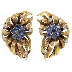 Sapphire Diamond Gold En Tremblant Earrings