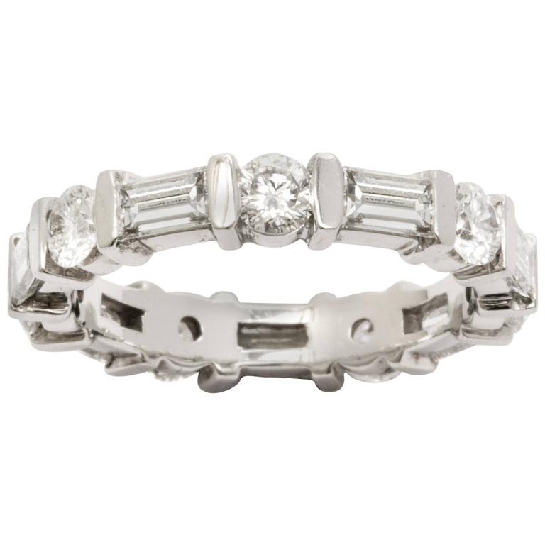 FerruccI Baguettes and Round diamonds Platinum Eternity Band Ring