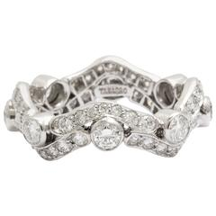 Tanagro Jewelry Onde Collection Diamond and Platinum 950 Ring, Made in New York
