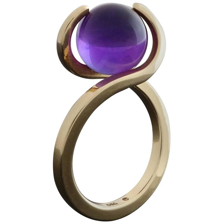 1960s Friedrich Becker Gold Ring Interchangeable Amethyst Chalcedony Agate Orbs 1