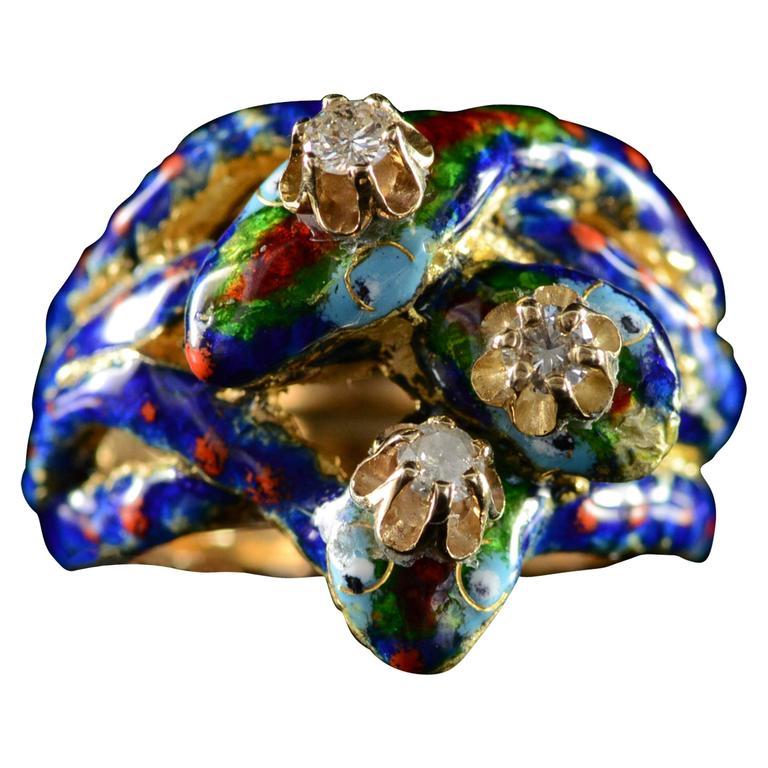 Abstract Enamel Diamond Gold Snake Ring