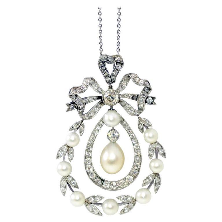 Edwardian natural pearl diamond pendant for sale at 1stdibs edwardian natural pearl diamond pendant for sale aloadofball Images
