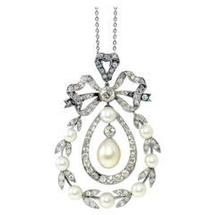 Edwardian Natural Pearl Diamond Pendant