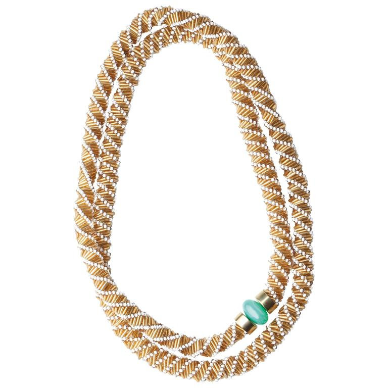 Fouche Chrysoprase Africa Bead Rope Necklace