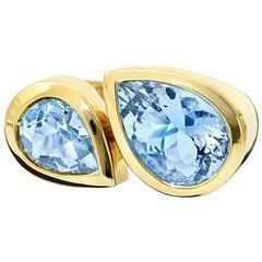 Deux Poires Aquamarine Ring