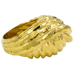 18 Karat Gold Henry Dunay Faceted Knot Style Ring