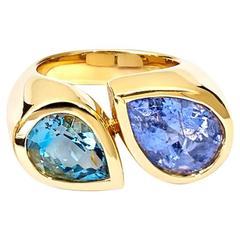 Deux Poires Tourmaline and Aquamarine Ring