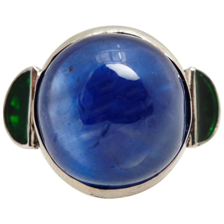 Cabochon Burma Sapphire Emerald Platinum Ring