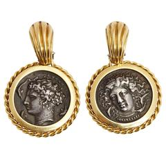 Ancient Coins Gold Ear Pendants