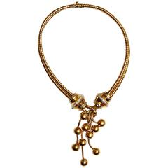 1970s Veronesi Diamond Gold Drop Balls Necklace