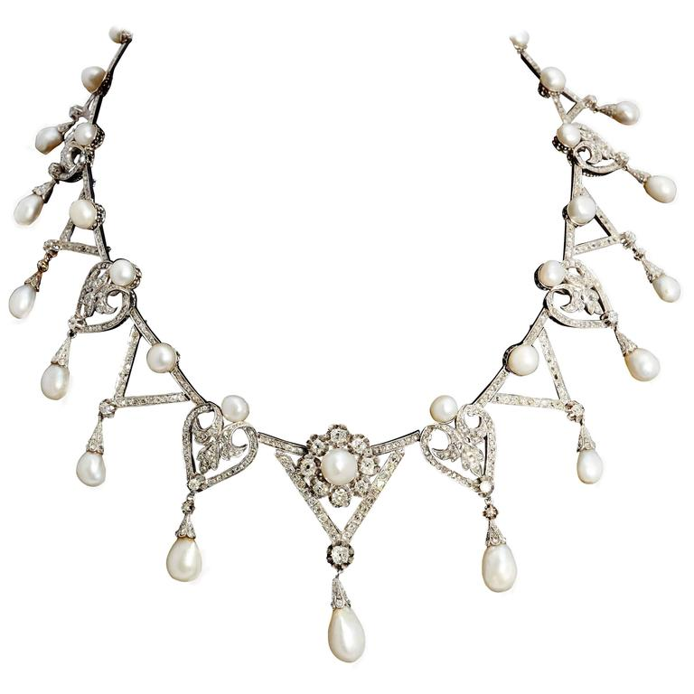 1910s Important Antique Natural Pearl Diamond Platinum  Necklace  For Sale